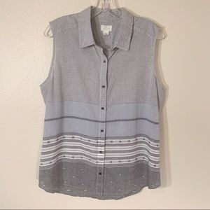 Caslon Cotton Sleeveless Stripe Top L